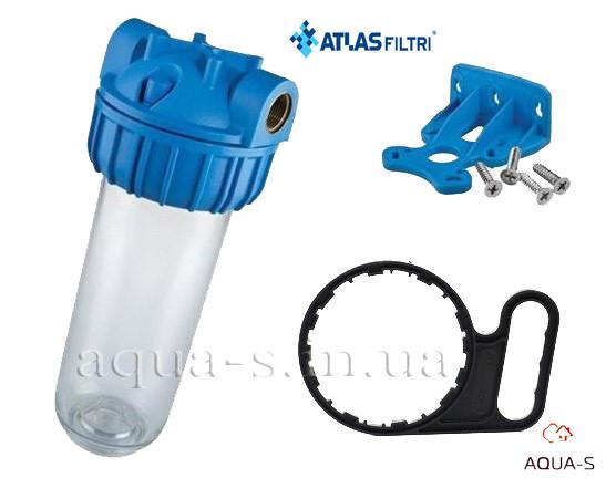 """Фильтр-колба для холодной воды Atlas Filtri PLUS 3P  Dn 1/2""""  45° Высота 10"""" (для картриджей SX)ZA111T111"""