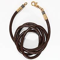 Серебряный кожаный шнурок 5525\3-Зев.к.к