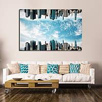 Картина -  Абстрактный перевернутый городской пейзаж на фоне неба, для декора гостиной