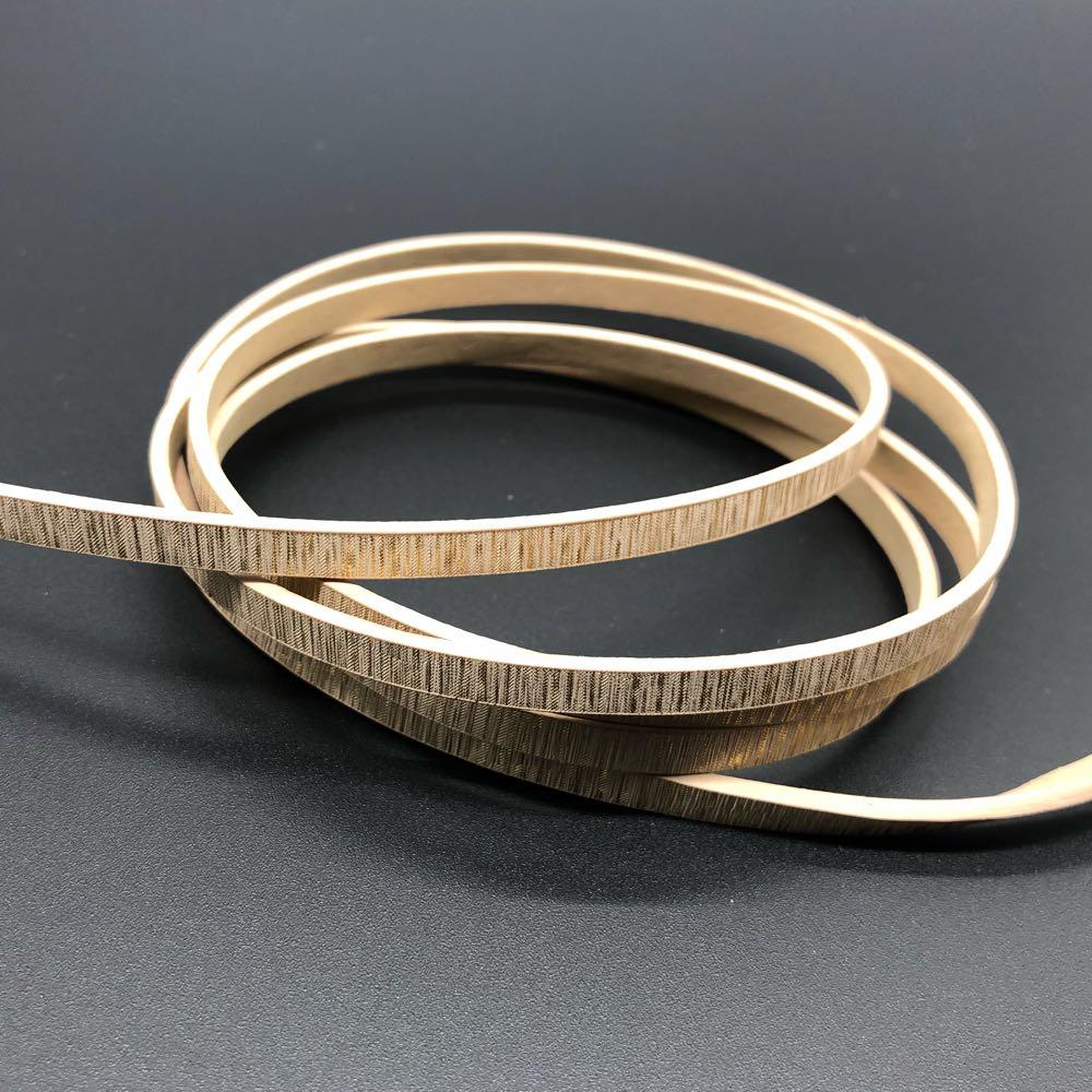 Декоративные кожаные шнурки . Цвет золото. 120см 5мм