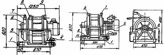 Схема вспомогательной лебедки 1ЛШВ-01