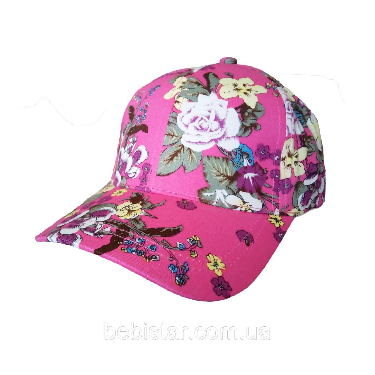 Кепка бейсболка с цветочным орнаментом красная для девочки