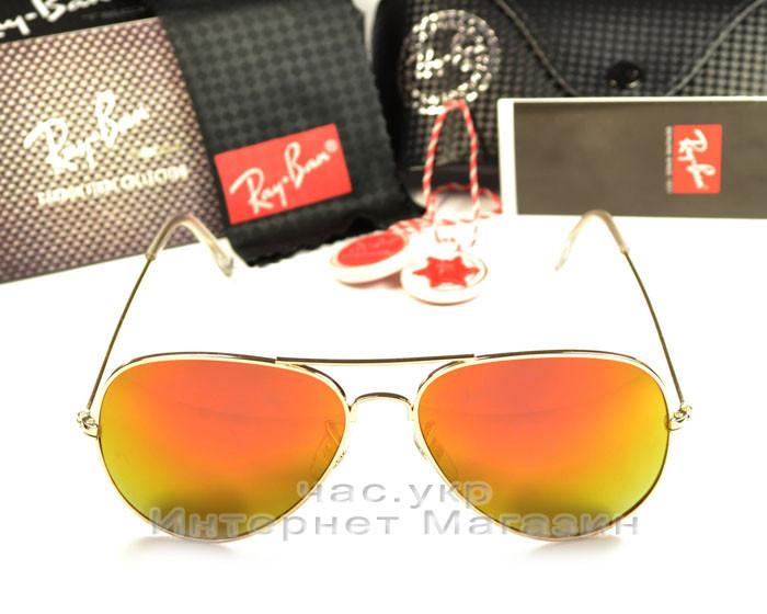 Солнцезащитные очки Ray Ban Aviator цветные оранжевые orange унисекс RB  3026 авиатор рей бен реплика 4ad2c33783d2f