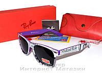 Женские солнцезащитные очки Ray Ban Wayfarer RB 2140 буквы фиолетовые purple унисекс реплика