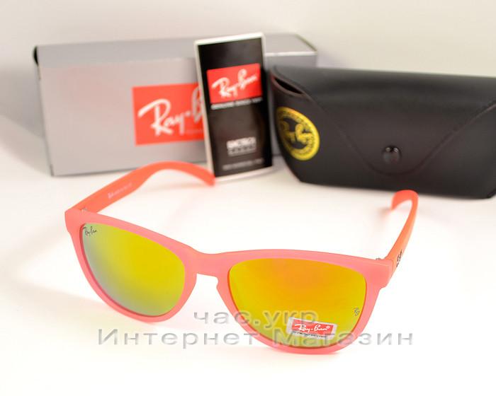 Солнцезащитные очки Ray Ban Wayfarer RB 2140 зеркальные розовые унисекс рей бен реплика