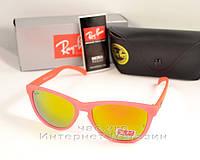 Солнцезащитные очки Ray Ban Wayfarer RB 2140 зеркальные розовые унисекс рей бен реплика, фото 1