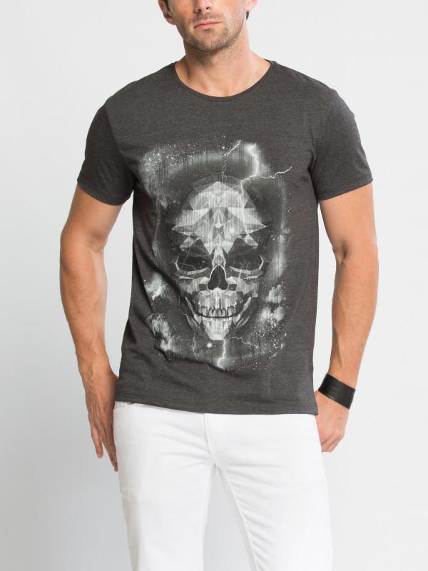 Графитовая мужская футболка LC Waikiki / ЛС Вайкики с рисунком на груди