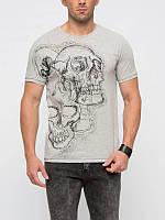 Серая мужская футболка LC Waikiki / ЛС Вайкики с  черепом на груди