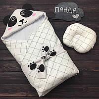 """Летний конверт-одеяло для новорожденных """"Панда"""" (подушка в подарок), фото 1"""