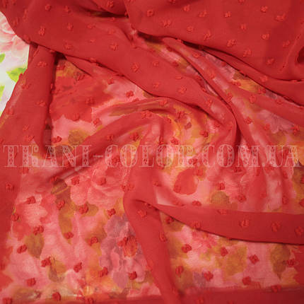 Ткань шифон жаккард с нашивкой красный - от 10м., фото 2