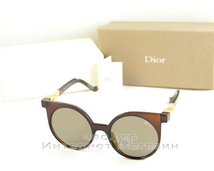 Женские солнцезащитные очки Christian Dior коричневые круглые качество новая модель реплика