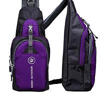 Мужской рюкзак на одно плечо. Размер 35-16-9 см. Фиолетовый