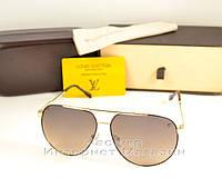 Женские солнцезащитные очки Louis Vuitton Aviator Gold под золото Авиатор луи витон качественная копия, фото 1