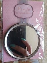 Дзеркало косметичное - діаметр дзеркала 7см, скло, метал