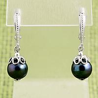 Жемчуг черный темно-синий отлив, серебро, серьги, 328СРЖ