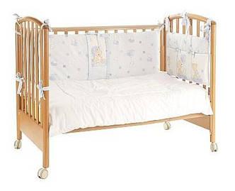 Защита в детскую кроватку, голубая с медвежатами