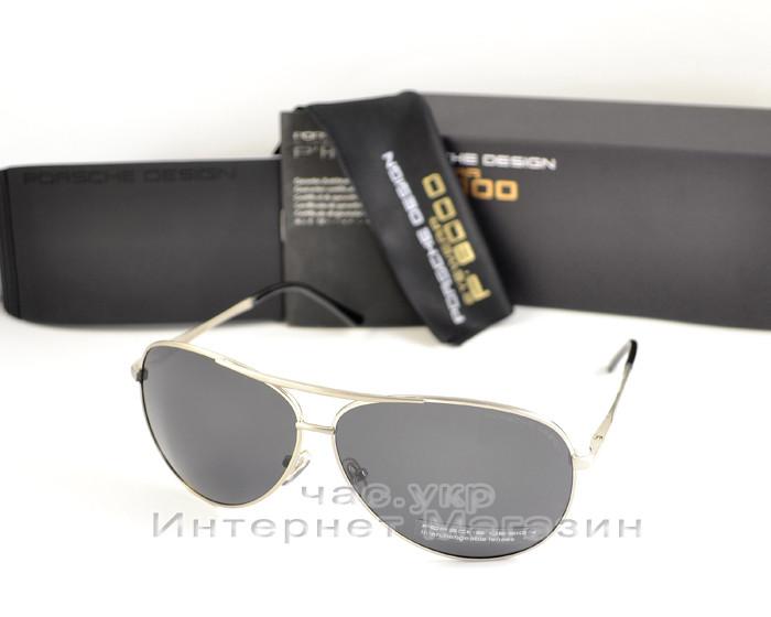 Мужские солнцезащитные очки Porsche Design Поляризационные серебро полностью металлические реплика
