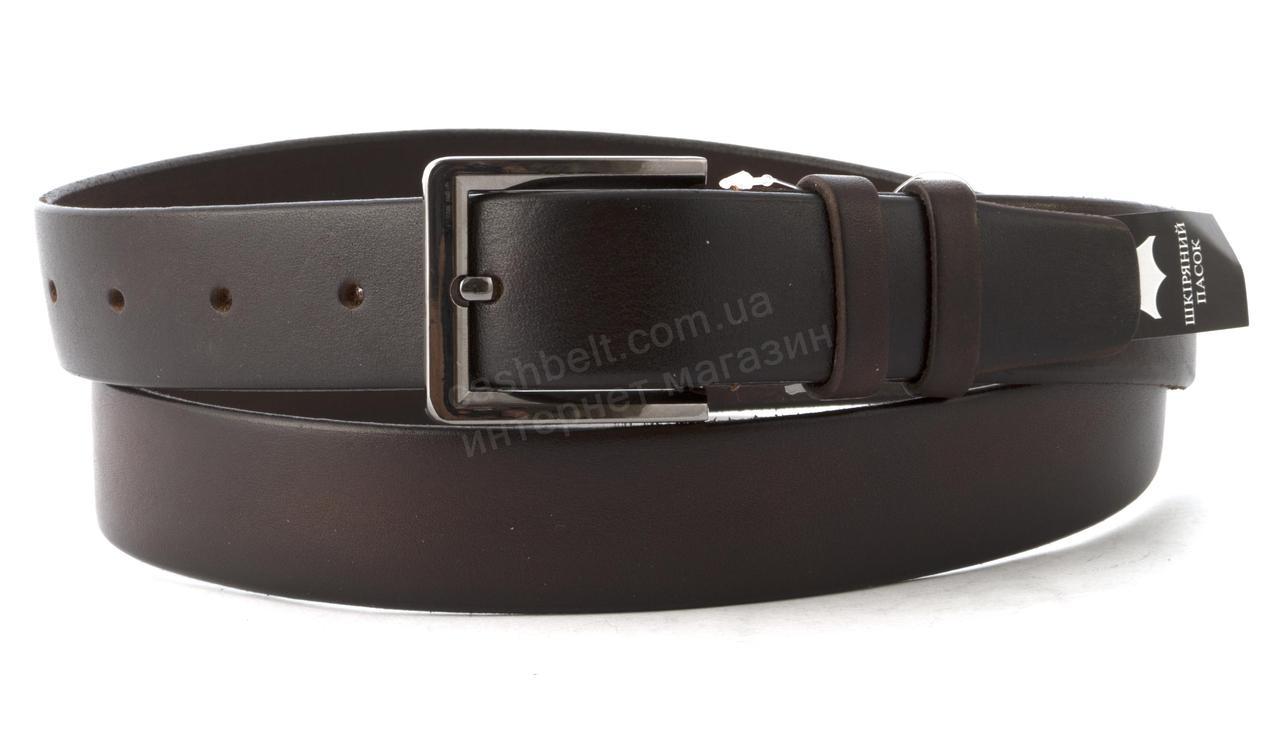 Прочный надежный кожаный мужской ремень классика 3,5 см кожа БАТАЛ (102699) темно коричневый