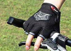 Перчатки детские велосипедные беспалые вело велоперчатки черные Grid