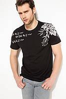 Черная мужская футболка De Facto / Де Факто с рисунком на плечах, фото 1