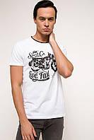 Белая мужская футболка De Facto / Де Факто с надписью на груди Live fast, фото 1