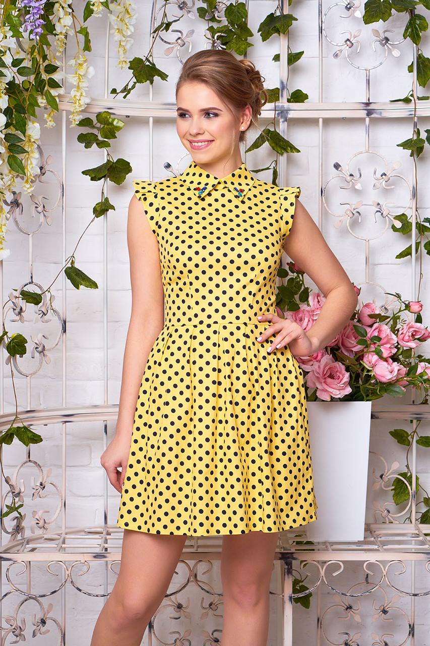 71df5fafa71 Красивое платье летнее мини с камнями на воротнике желтое в горох -