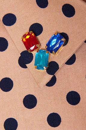 a88c2785483 Красивое платье летнее мини с камнями на воротнике желтое в горох ...