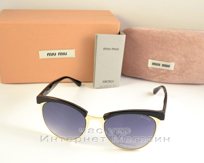 e7c8e616a761 Женские солнцезащитные очки Miu Miu круглые классика качественная реплика  ААА Миу Миу - Ваш интернет магазин