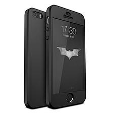 Чехол Бампер GKK для Iphone 5 / 5s оригинальный black с яблоком 360 + стекло в подарок