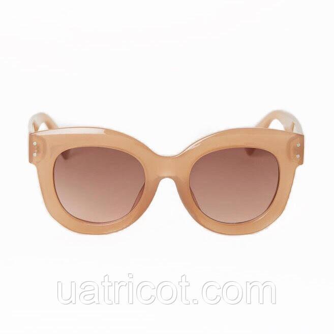 Женские солнцезащитные очки маска Премиум класса в бежевой оправе