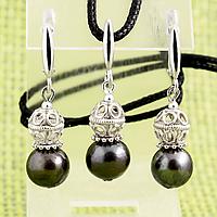 Перли шоколадний, срібло, комплект кулон і сережки, 060КМЖ