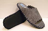 Комнатные шлёпанцы с темно-синим шнурком из войлока женские 36-37р