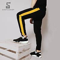 Спортивные штаны мужские MS 18, черные с желтыми лампасами, фото 1