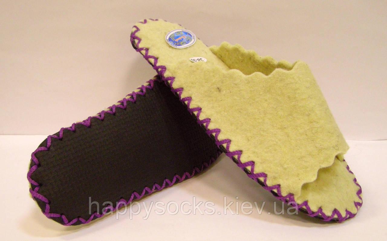 Женские шлёпанцы войлочные из 100% шерсти с фиолетовым шнурком