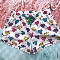 Женские хлопковые домашние шорты с карманами цветные диаманты, фото 1