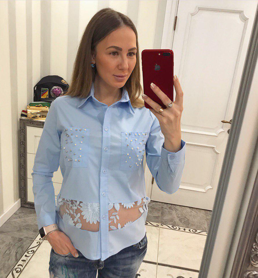 Блуза из хлопка с кружевом и жемчугом белый