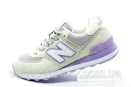Женские кроссовки в стиле New Balance 574 Classic, Бежевый\фиолетовый, фото 2