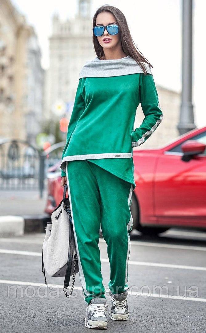 Замшевый спортивный костюм с ассиметричной кофтой
