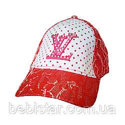 Кепка бейсболка красная в горох для девочки