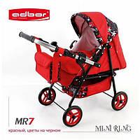 Кукольная коляска-трансформер 2в1 с переноской Adbor Mini Ring (MR7, красный, цветы на черном)