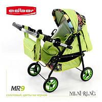 Кукольная коляска-трансформер 2в1 с переноской Adbor Mini Ring (MR9, салатовый, цветы на черном)