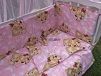 """Постільний набір в дитячу ліжечко (8 предметів) Premium """"Ведмедики сплять"""" рожевий, фото 1"""