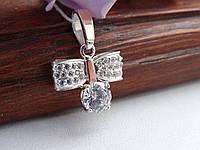 Оригінальна Срібна підвіска з білим каменем, фото 1