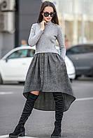 Стильное теплое платье с асимметричным низом