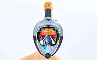 Маска для снорклинга с дыханием через нос M502L-GR. (р-р S-M, L-XL), фото 1