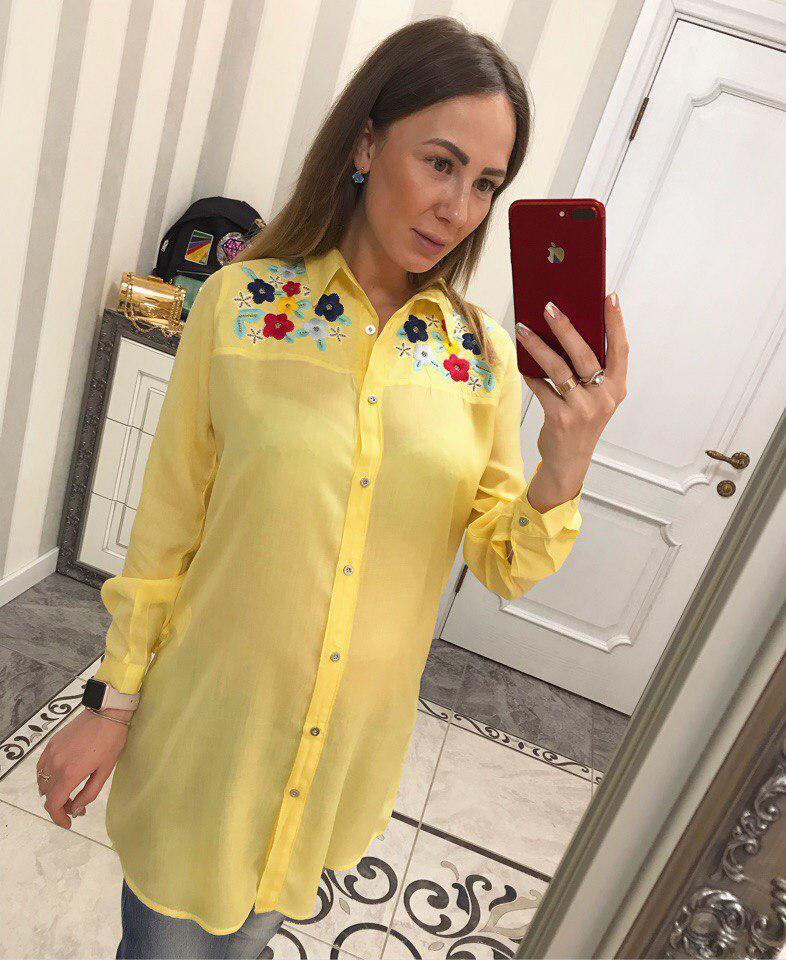 Удлинённая рубашка с вышивкой 42-50 р( ЖЁЛТЫЙ)