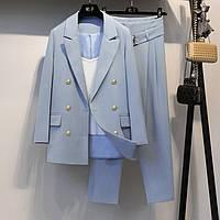 Голубой брючный костюм, фото 1