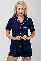 Хлопковая пижама рубашка и шорты Идилия синяя однотон