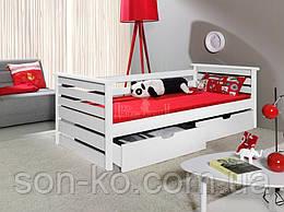 Ліжко з масиву бук Калина в білому кольорі