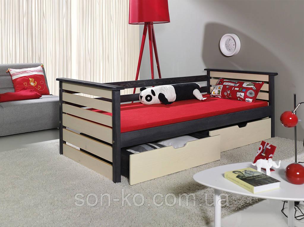 Ліжко з масиву бук Калина в двох кольорах